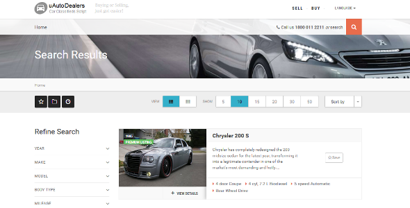 uAutoDealers - car dealerships and auto classified website script
