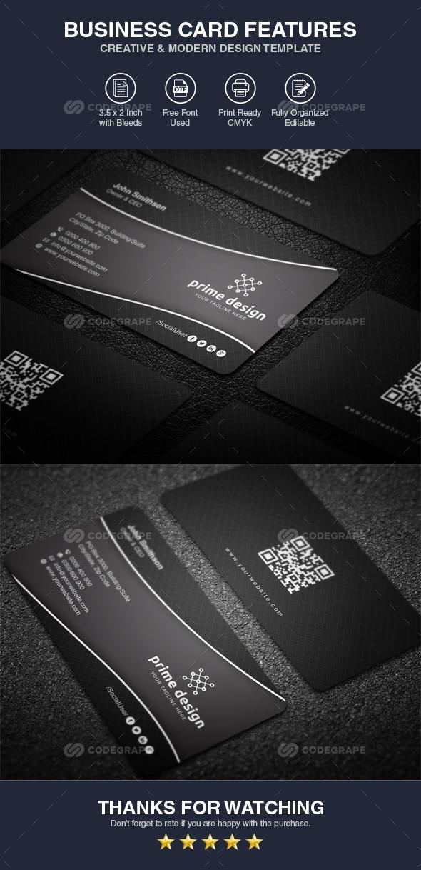 Black Business Card Template Vol 01
