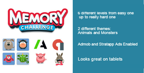 Memory Challenge Game with Admob & Startapp - Mobile Apps | CodeGrape