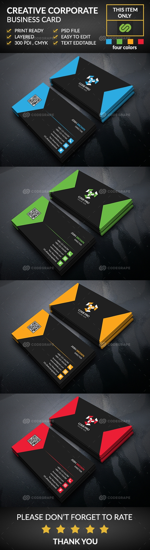 Corporate Business Card 4 in 1