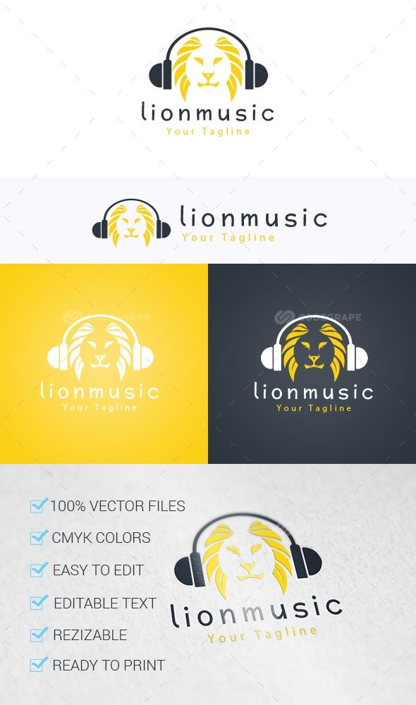Lion Music Logo Template