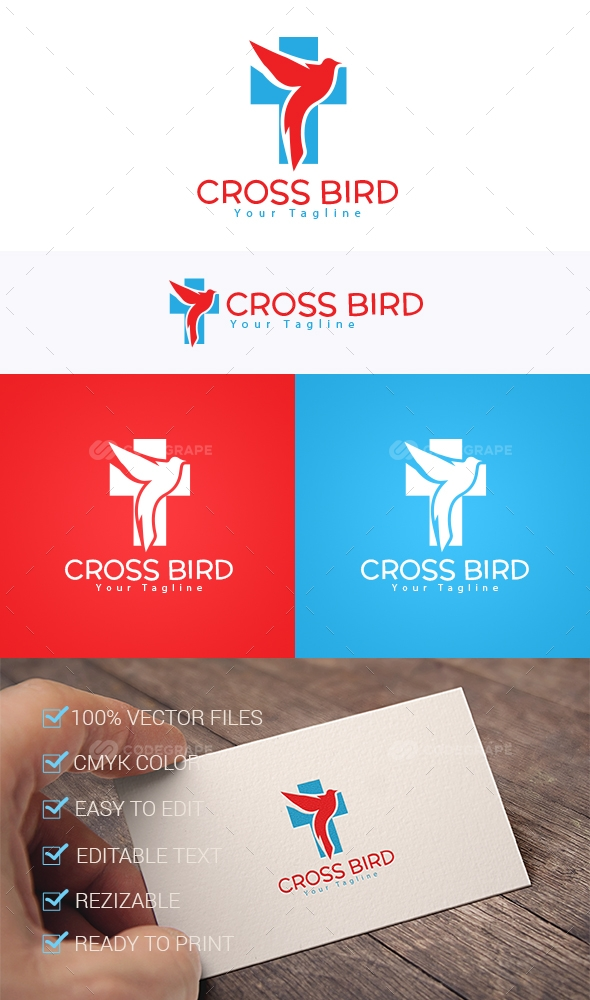 Cross Bird Logo Template