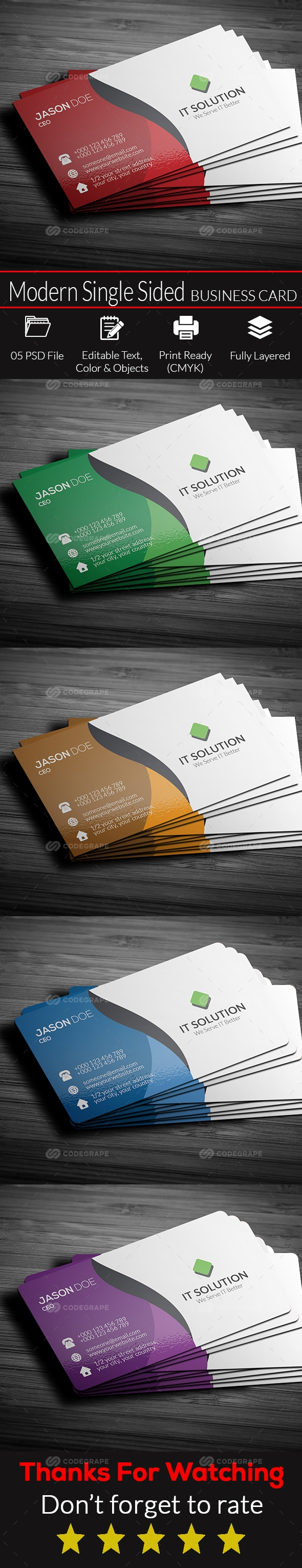 Modern Front Sided Business Card