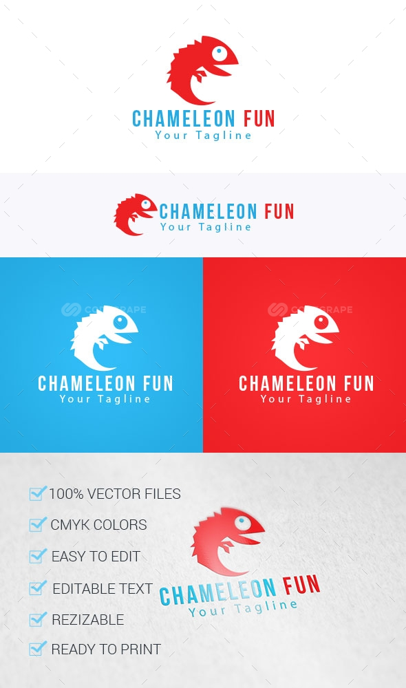 Chameleon Fun Logo Template