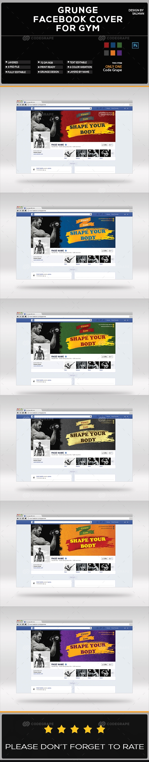 Grunge Facebook Cover for GYM