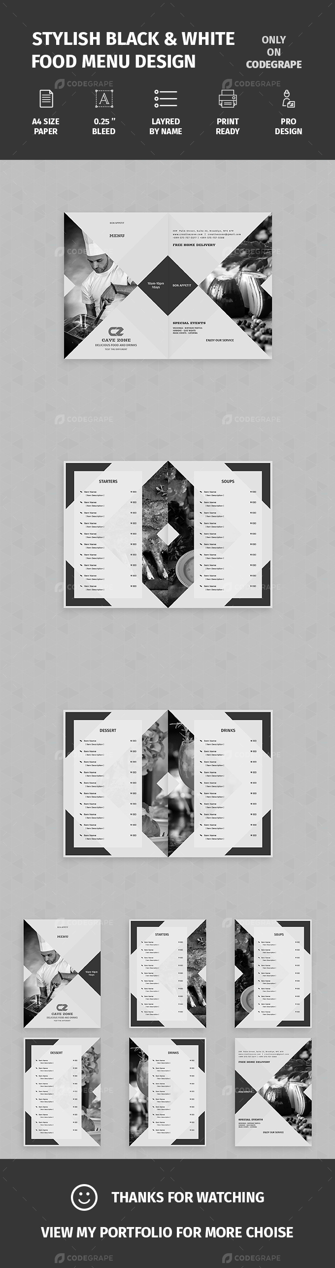 Stylish Black & White Food Menu Design
