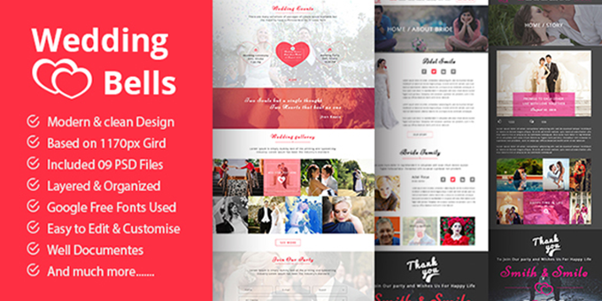 Wedding Bells PSD Template