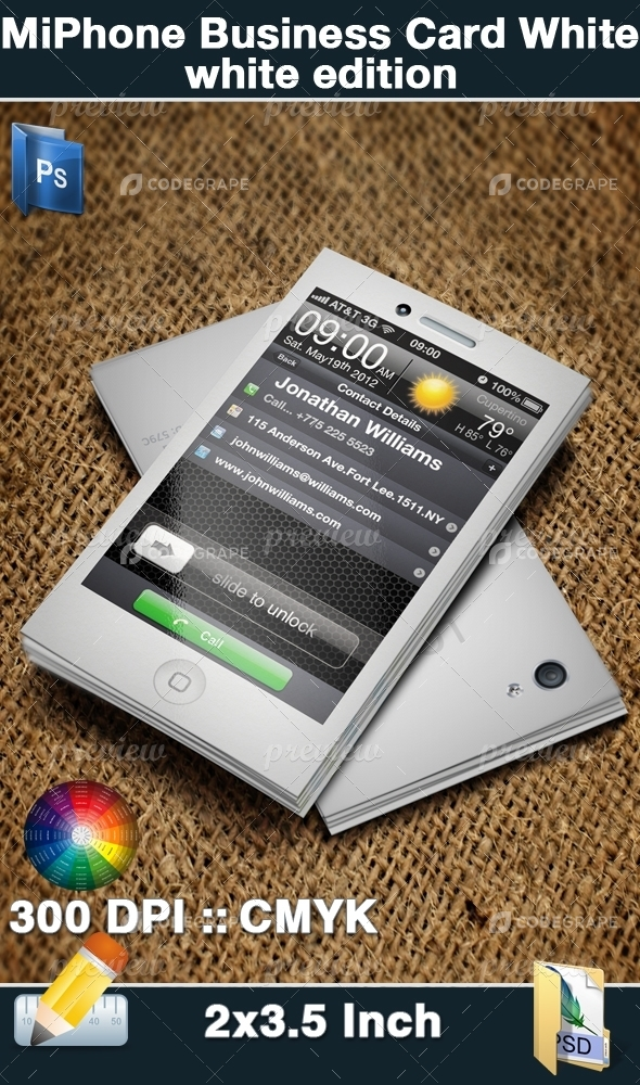 MiPhone Business Card White Edition