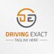 Driving Exact DE Letter Logo Design