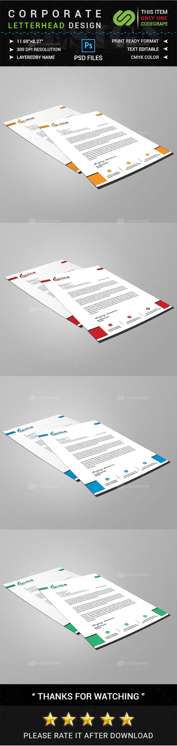 Corporate Letterhead Design Template Print – Corporate Letterhead
