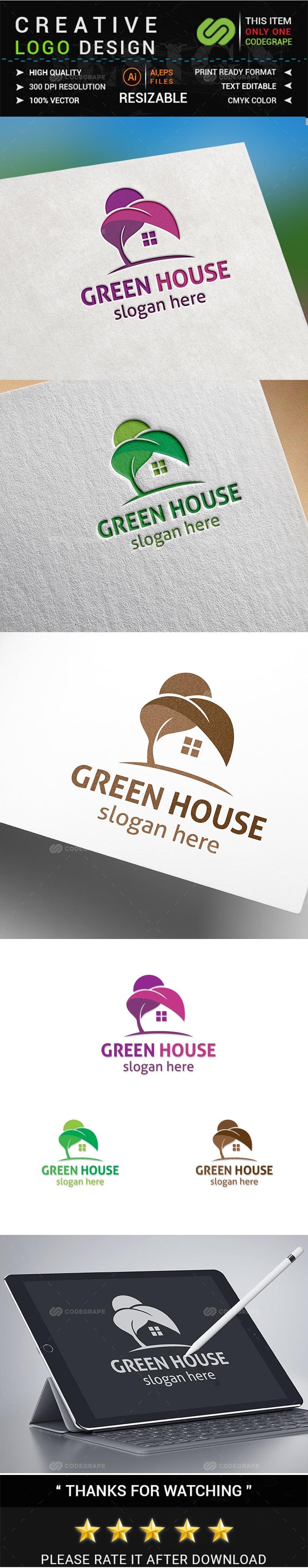 Green House Logo Template