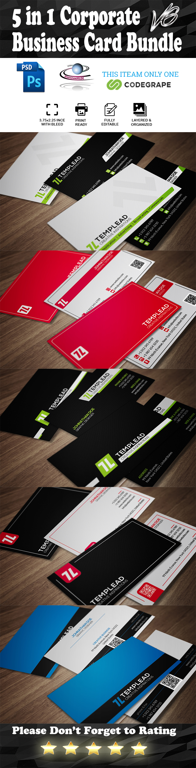5 in 1 Corporate Business Card Bundle v6