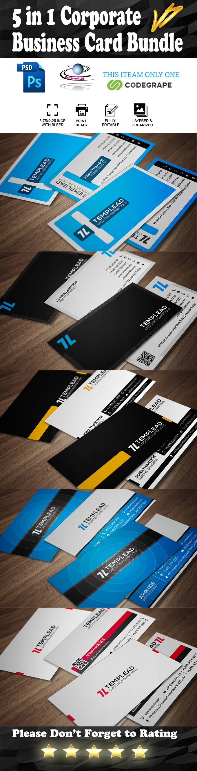 5 in 1 Corporate Business Card Bundle v7