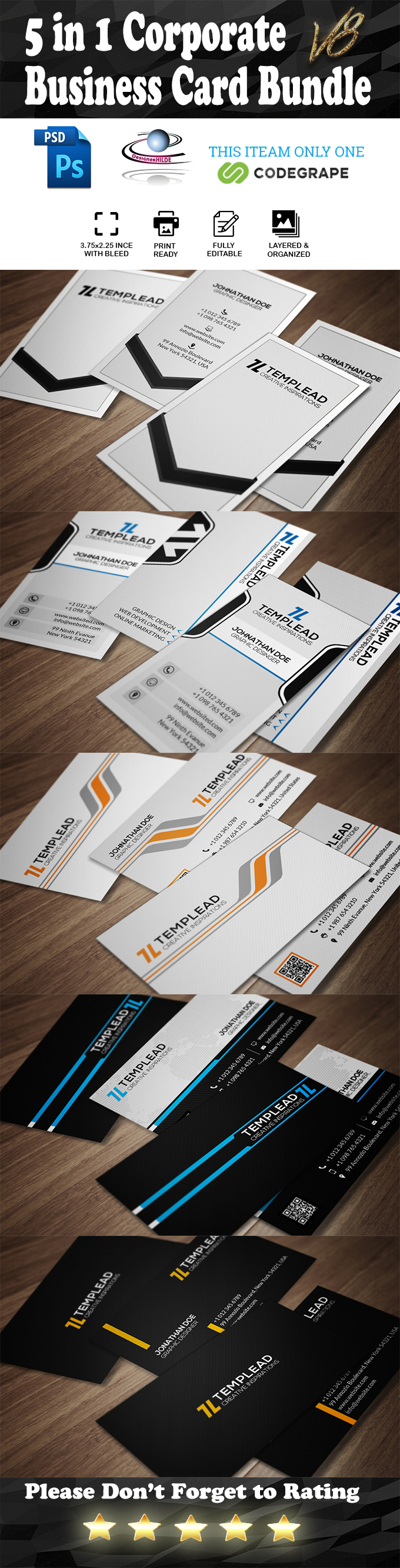 5 in 1 Corporate Business Card Bundle V.8