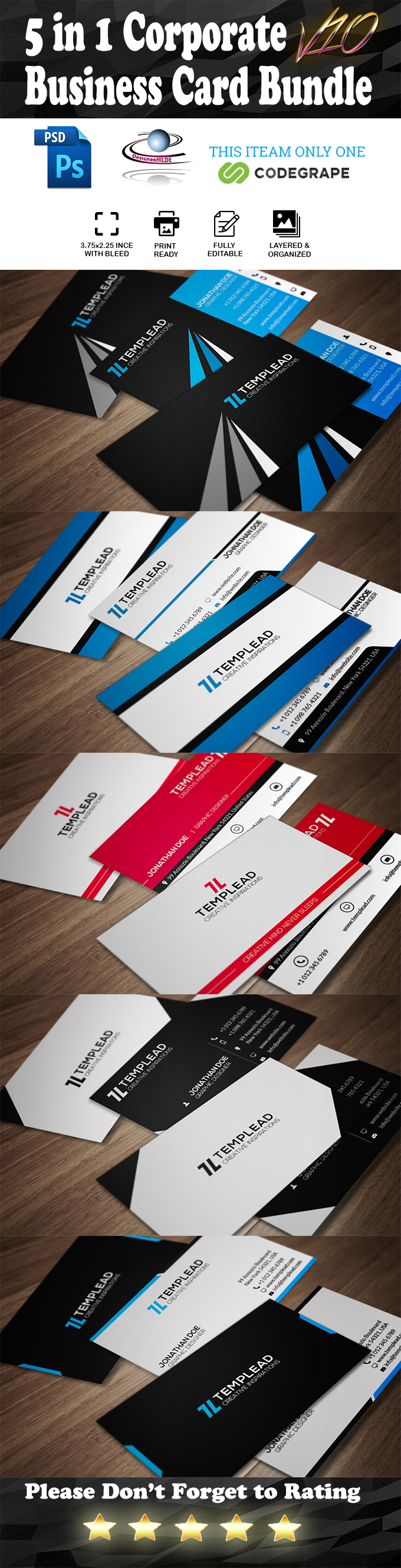 5 in 1 Corporate Business Card Bundle V.10