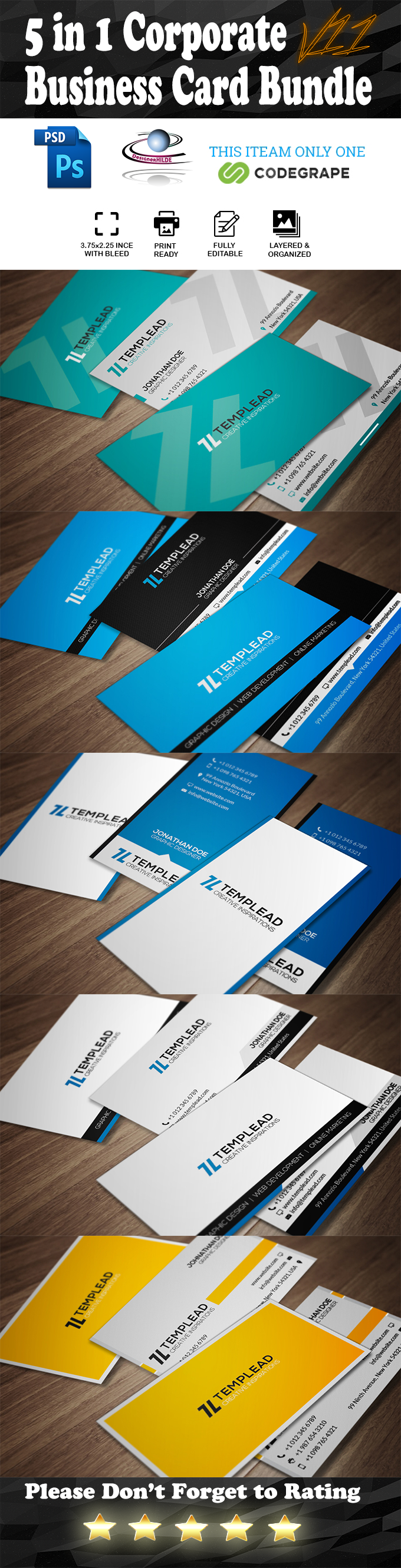 5 in 1 Corporate Business Card Bundle V.11