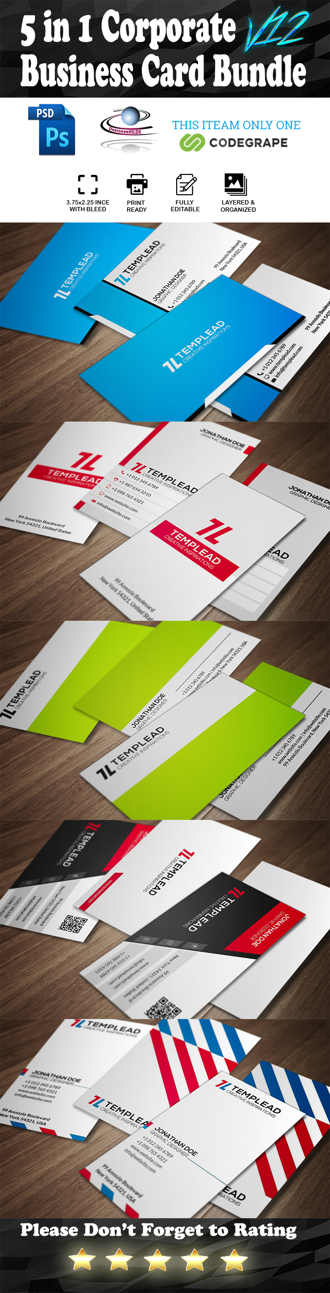 5 in 1 Corporate Business Card Bundle V.12