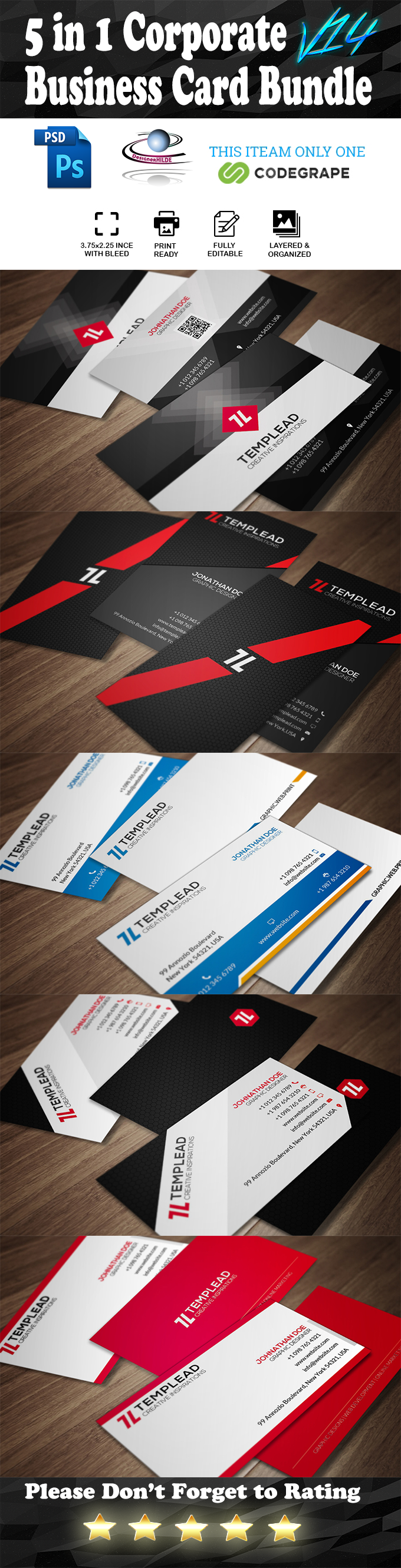 5 in 1 Corporate Business Card Bundle V. 14