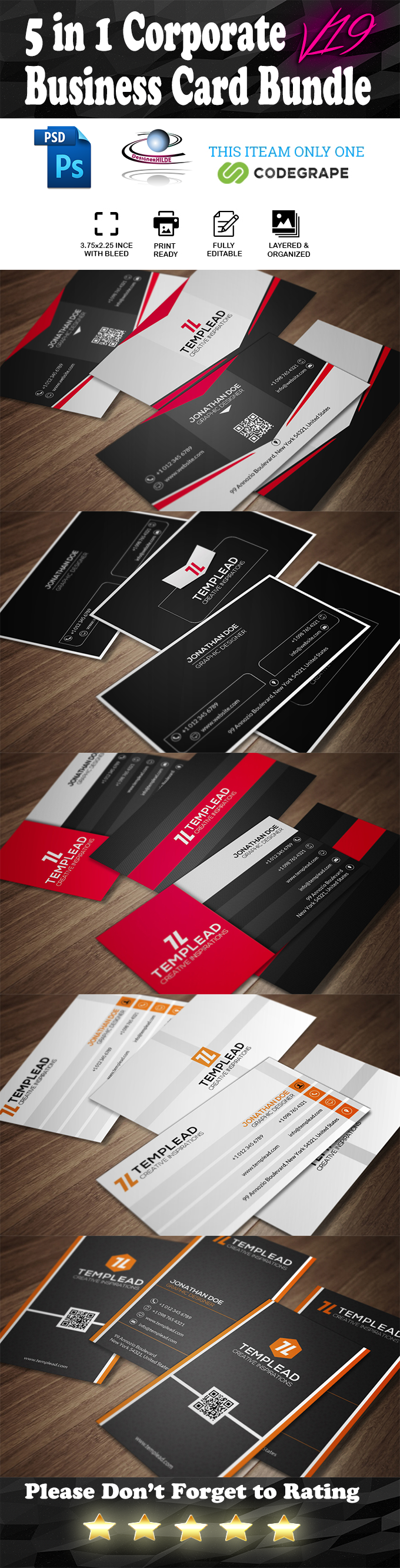5 in 1 Corporate Business Card Bundle V. 19