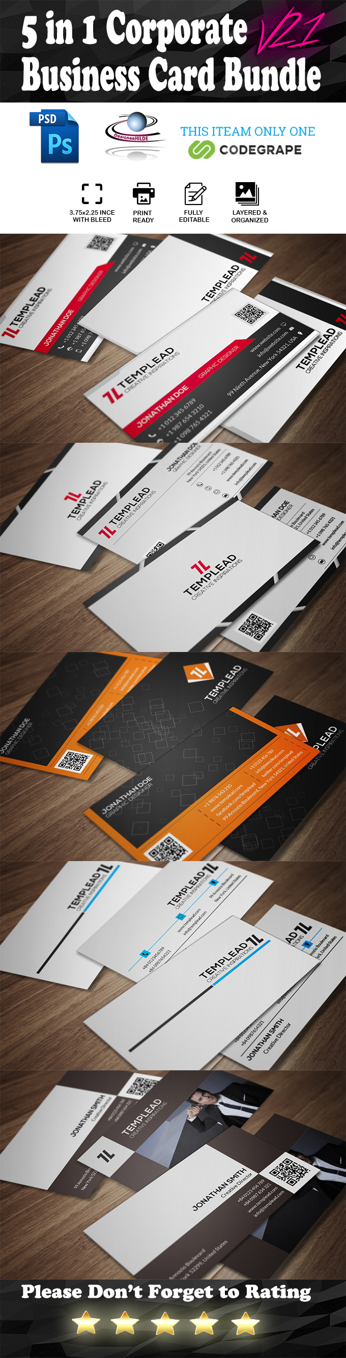 5 in 1 Corporate Business Card Bundle V. 21