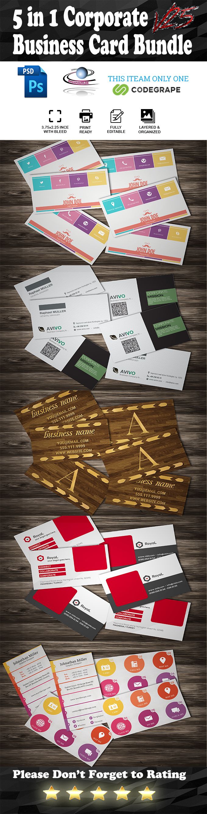 5 in 1 Corporate Business Card Bundle V. 25