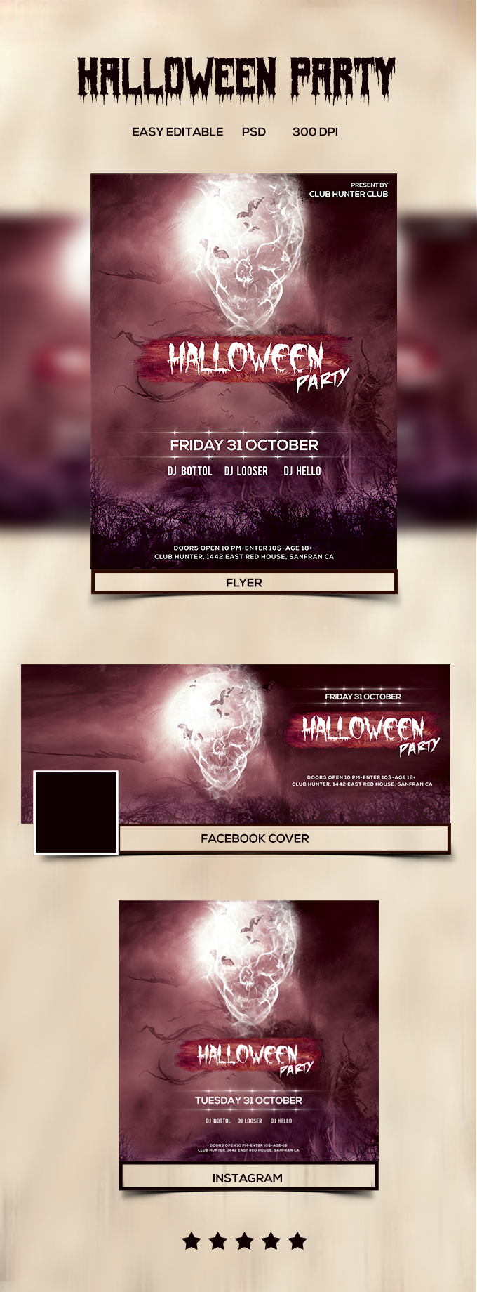 Halloween Party Flyer with Free Social Media Banner