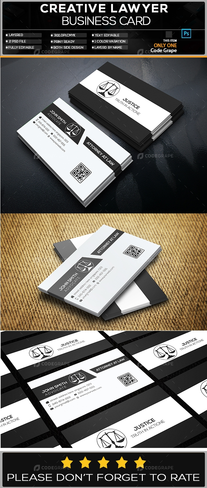 Creative Lawyer Business Card Print Codegrape