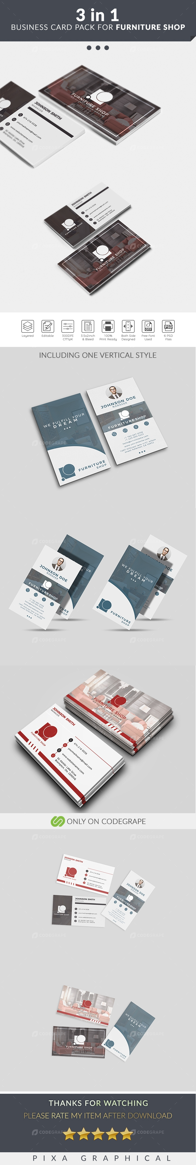 3 in 1 Business Card For Furniture Shop