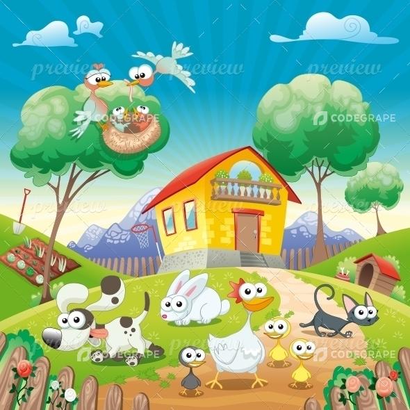 Village With Cartoon