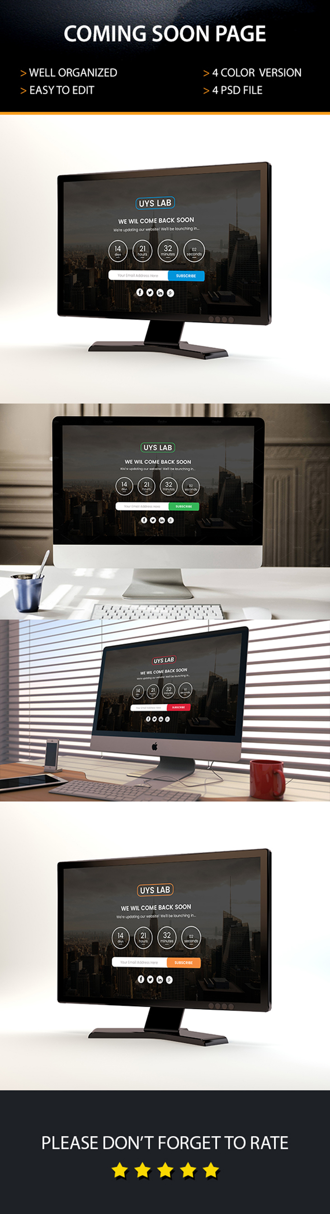 Coming Soon Page PSD Template