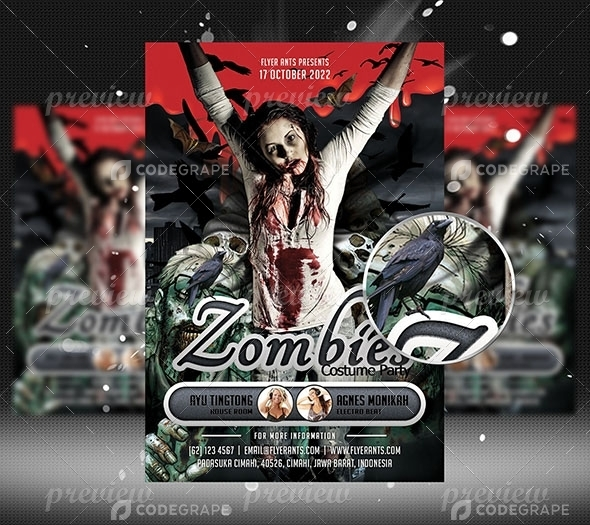 Zombies Flyer Template  Print  Codegrape