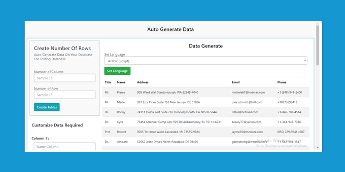 Auto Generate Data Sample PHP
