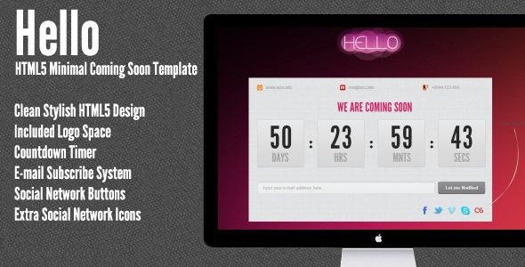 Hello | HTML5 Minimal Coming Soon Template