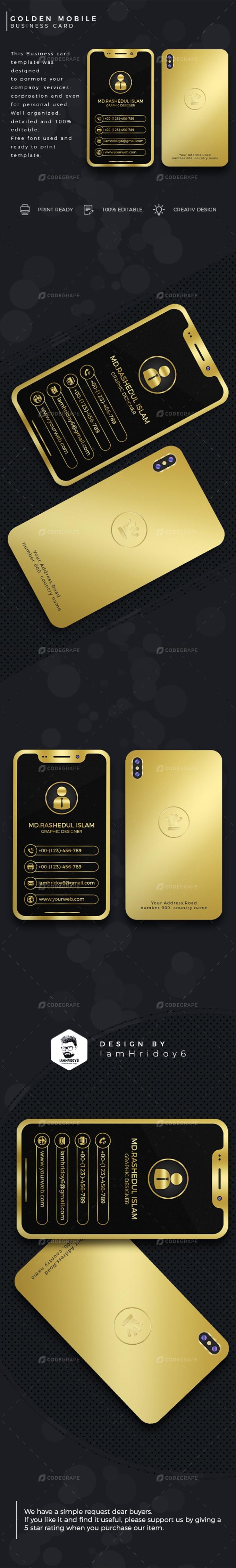 Golden Mobile Business Card - Print | CodeGrape