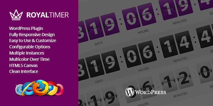 RoyalTimer Multicolor Countdown Timer WordPress Plugin