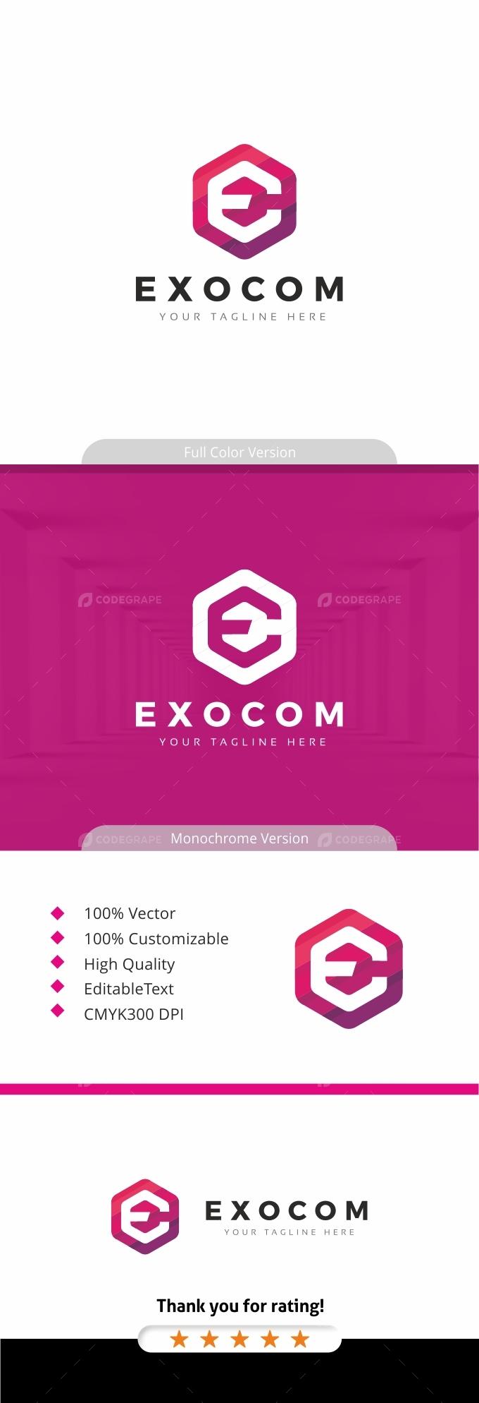 Exocom - Hexagon E Letter Logo