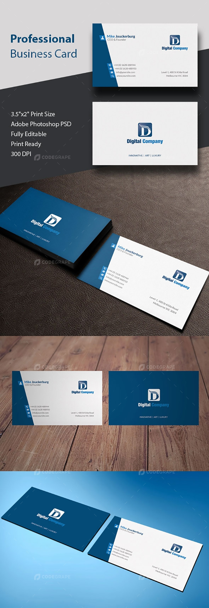 Professional Business Card Design - Print | CodeGrape