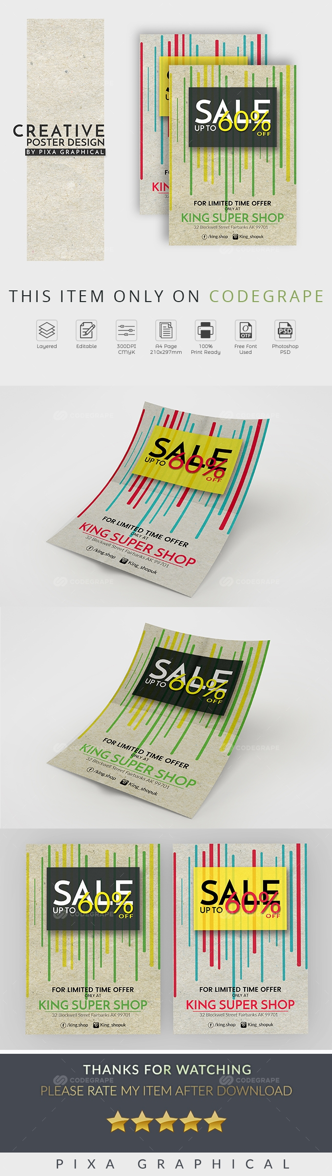 Creative Poster Design For Shop Sale