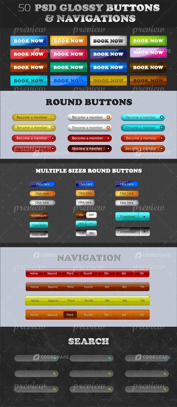 50 Psd Glossy Buttons & Navigations