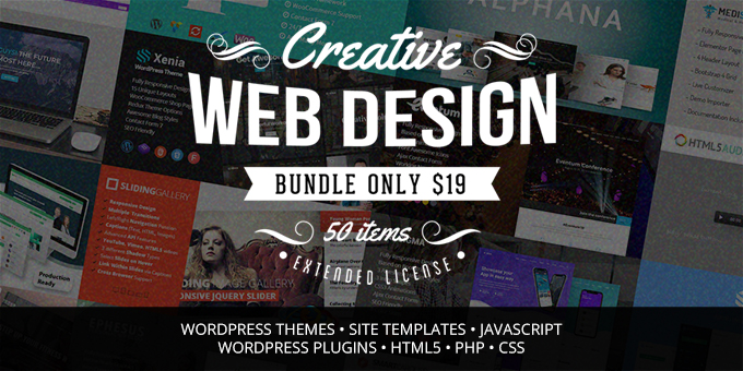 Creative Web Design Bundle with 50 Premium Items - Only $19