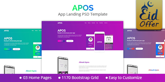 Apos - App Landing PSD Template
