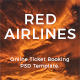 Red Airlines Online Air Ticket Booking PSD Template