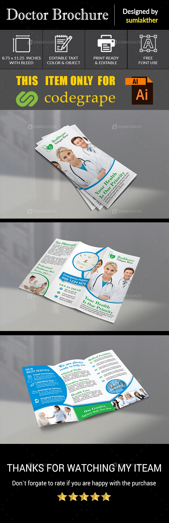 Corporate Trifold Doctor Brochure