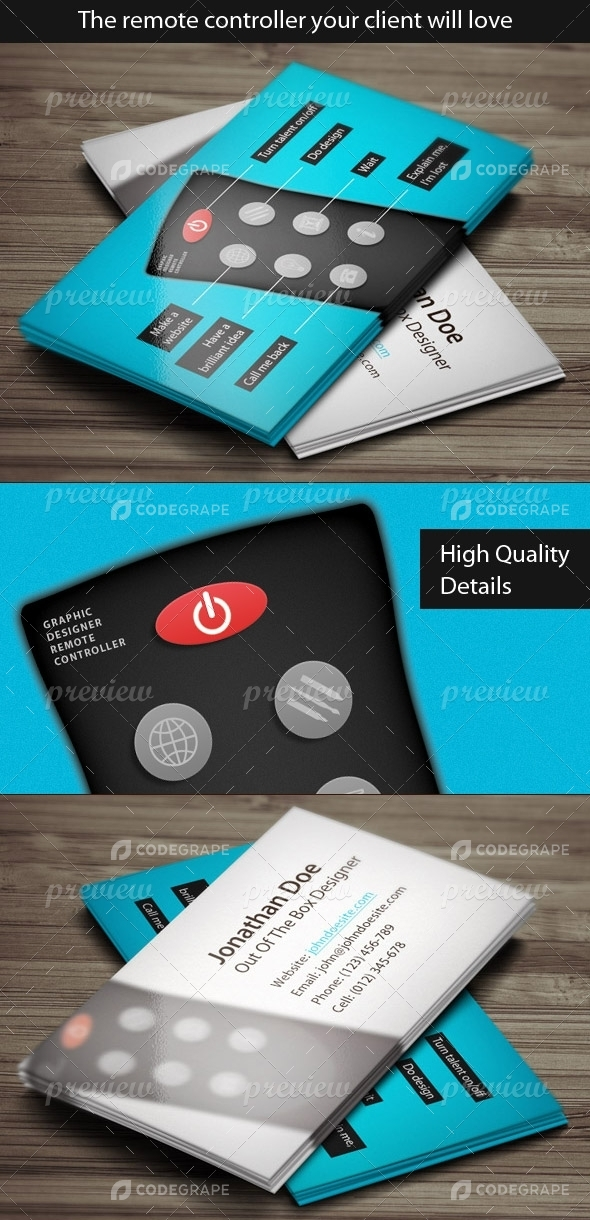 Designer Remote Control Business Card