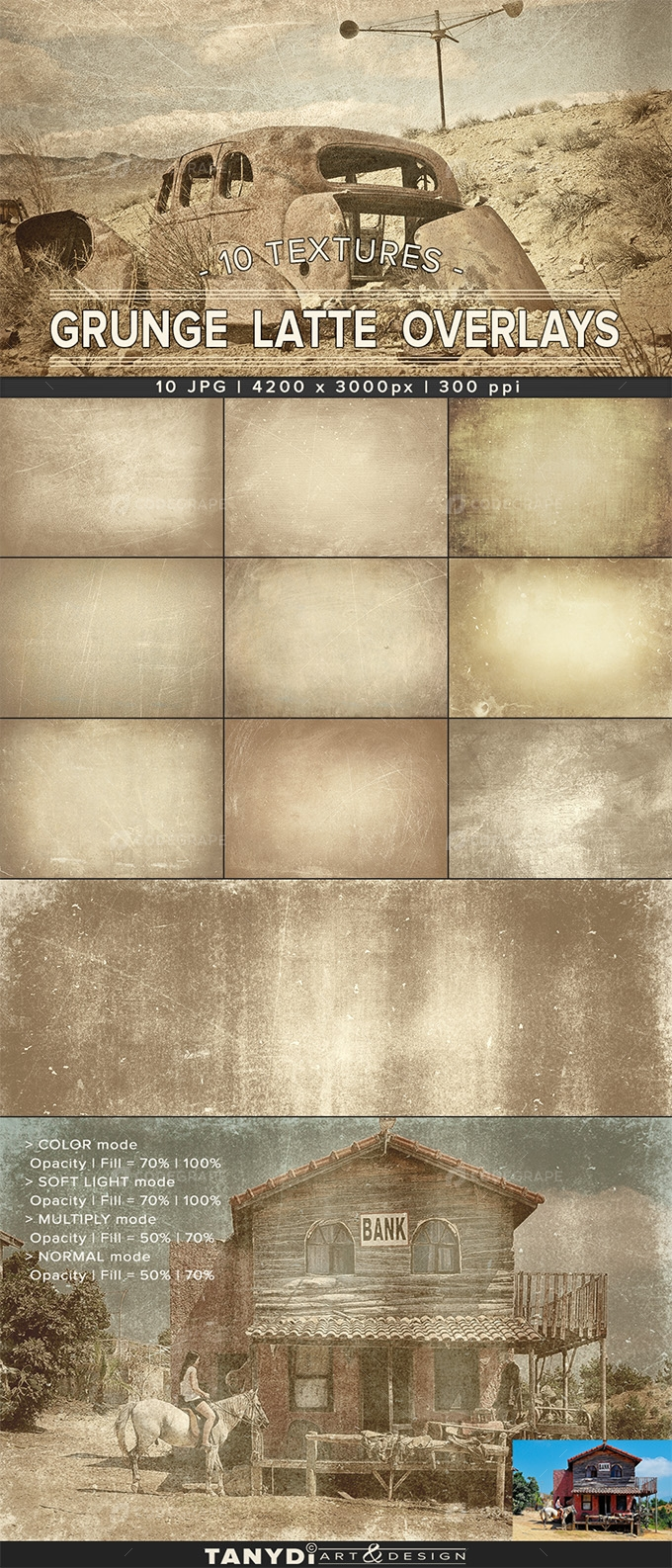 Grunge Latte | Photo Overlay Textures