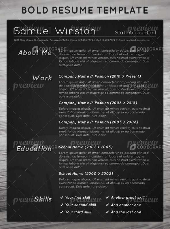 Dark & Bold Resume