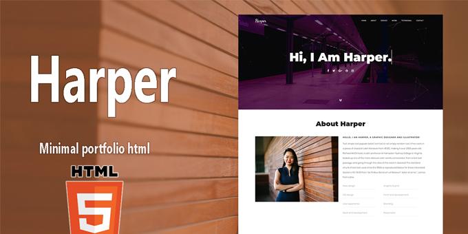 Harper One Page HTML Portfolio Template