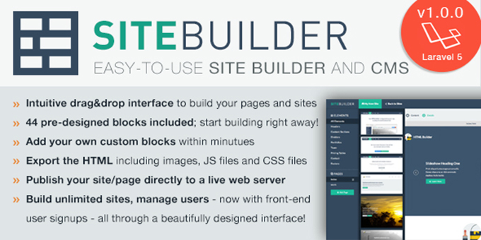 Sitebuilder - Laravel Dragdrop Site Builder And CMS