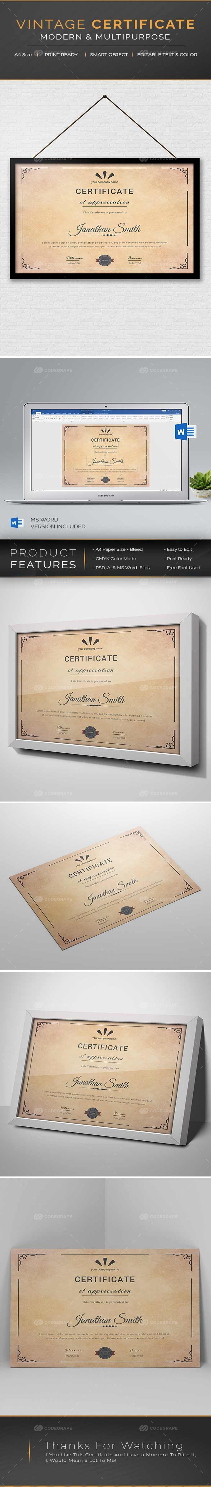 Vintage Certificate Template
