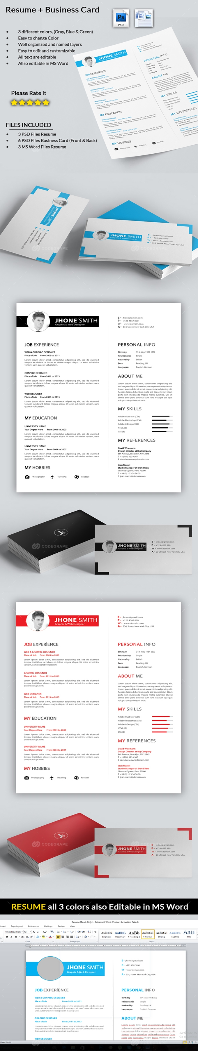 Resume with Business Card - Print | CodeGrape
